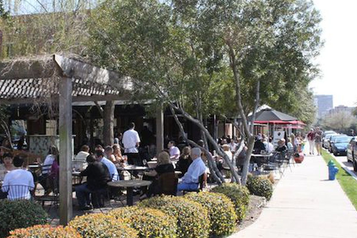The patio at the Uptown Park's The Tasting Room.