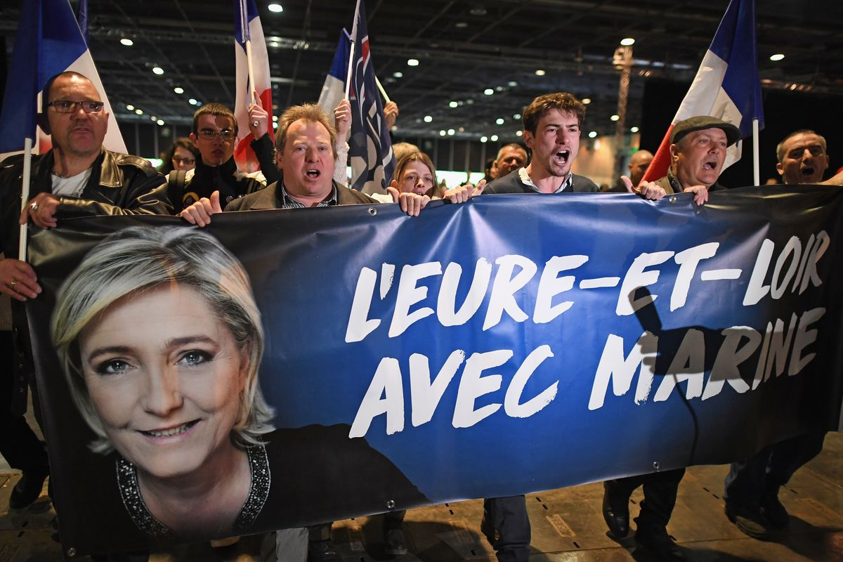 Presidential Candidate Marine Le Pen Holds A Rally Meeting In Villepinte