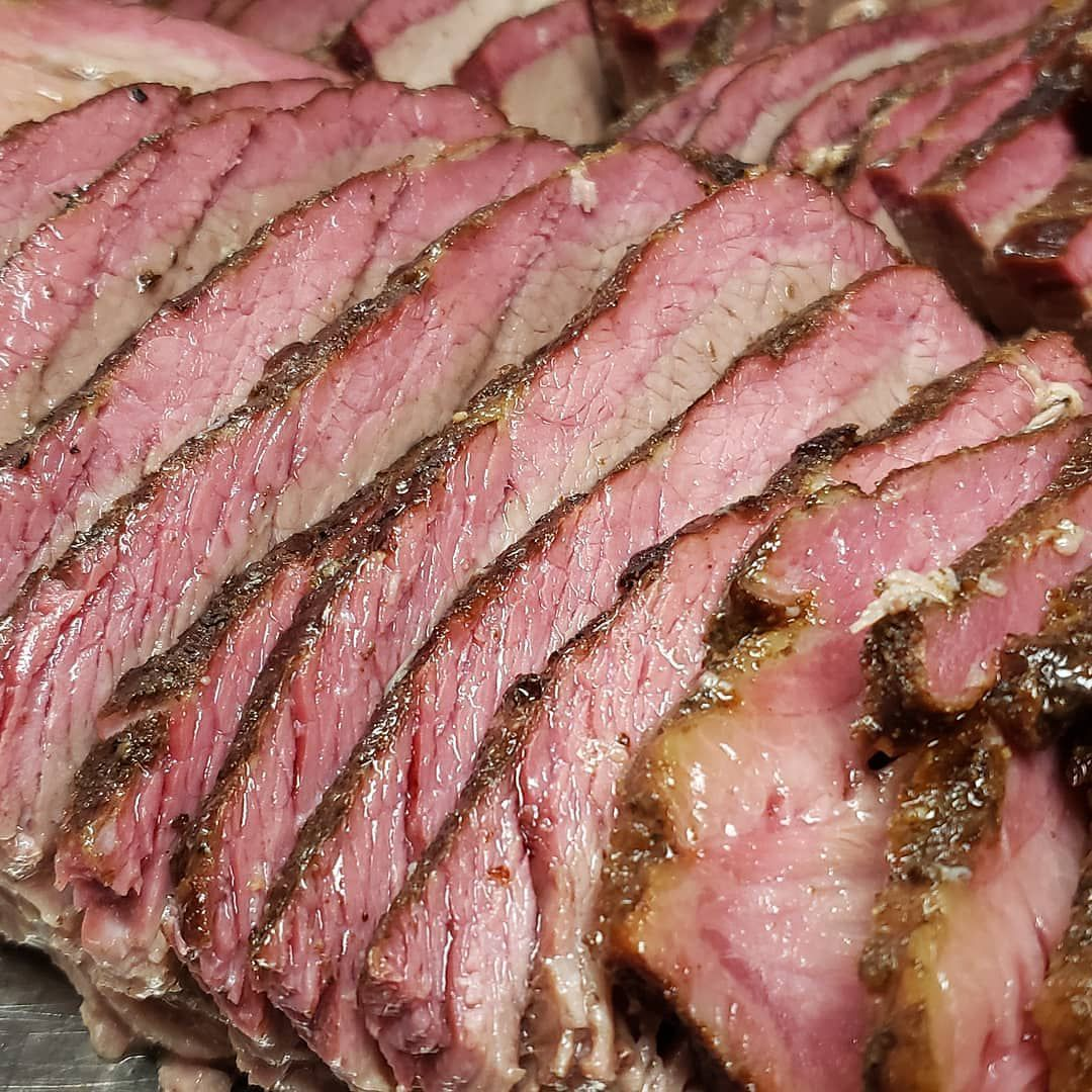 A close-up of sliced brisket from Coop's.