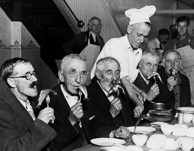 &nbsp;<br>Epicures are not the only ones enjoying trout dinners. Men at the&nbsp;Midnight&nbsp;Mission&nbsp;who perform exceptionally well with saw and axe in the woodyard get special treats. The trout are supplied by the Rainbow Angling Club at Azusa, fr
