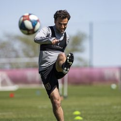 Real Salt Lake's Giuseppe Rossi trains during the first day of voluntary individual training at the RSL Academy on Thursday, May 7, 2020.