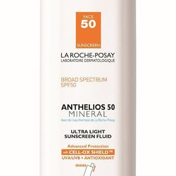We've never felt such silky, vanish-into-your-skin sunscreen as the La Roche-Posay Anthelios 50 Mineral Ultra Light Sunscreen Fluid, $33.50.