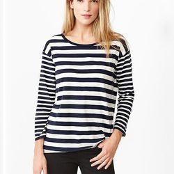 """For a modern (and cheaper) interpretation of the classic St. James sailor sweater, try this mixed-stripe tee, $26.95 at <a href=""""http://www.gap.com/browse/product.do?vid=1&pid=989729002"""">Gap</a>."""