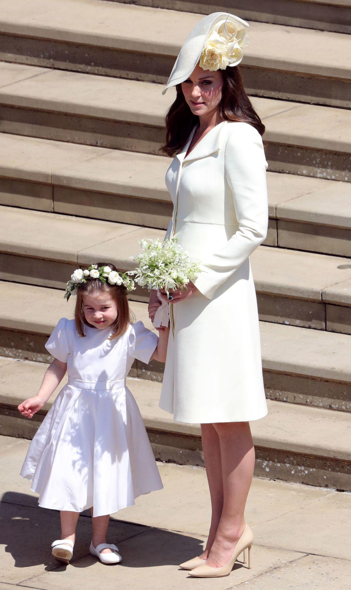 Kate Middleton and daughter, Princess Charlotte, at the wedding of Prince Harry and Meghan Markle.