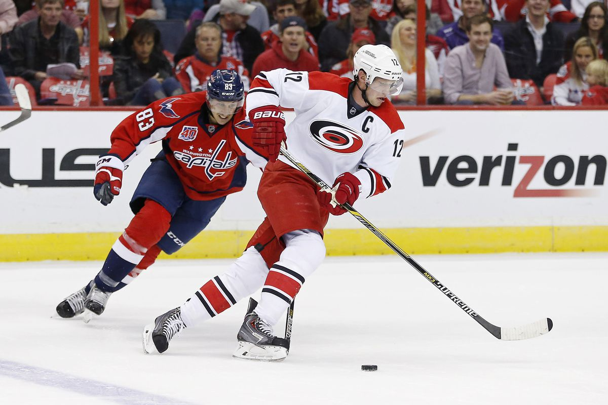 Eric Staal scored in the third period to help rally Carolina from a two-goal deficit, but the Hurricanes were beaten in overtime by the Capitals.