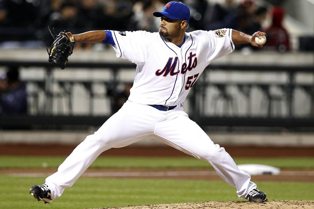 Apr 24, 2012; Flushing, NY, USA; New York Mets starting pitcher Johan Santana throws a pitch during the game against the Miami Marlins at Citi Field.  Mandatory Credit: William Perlman/THE STAR-LEDGER via US PRESSWIRE