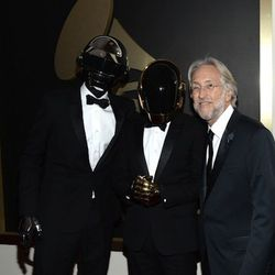 """""""I really loved Daft Punk's look together. The crisp tuxedos in a modern fit, mixed with those sparkly shoes was on another level. I love their masks and metallic gloves against the soft fabric, really interesting dynamic."""" Photo: WireImage"""