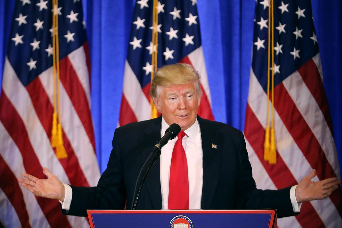 President-elect Donald Trump at a press conference.