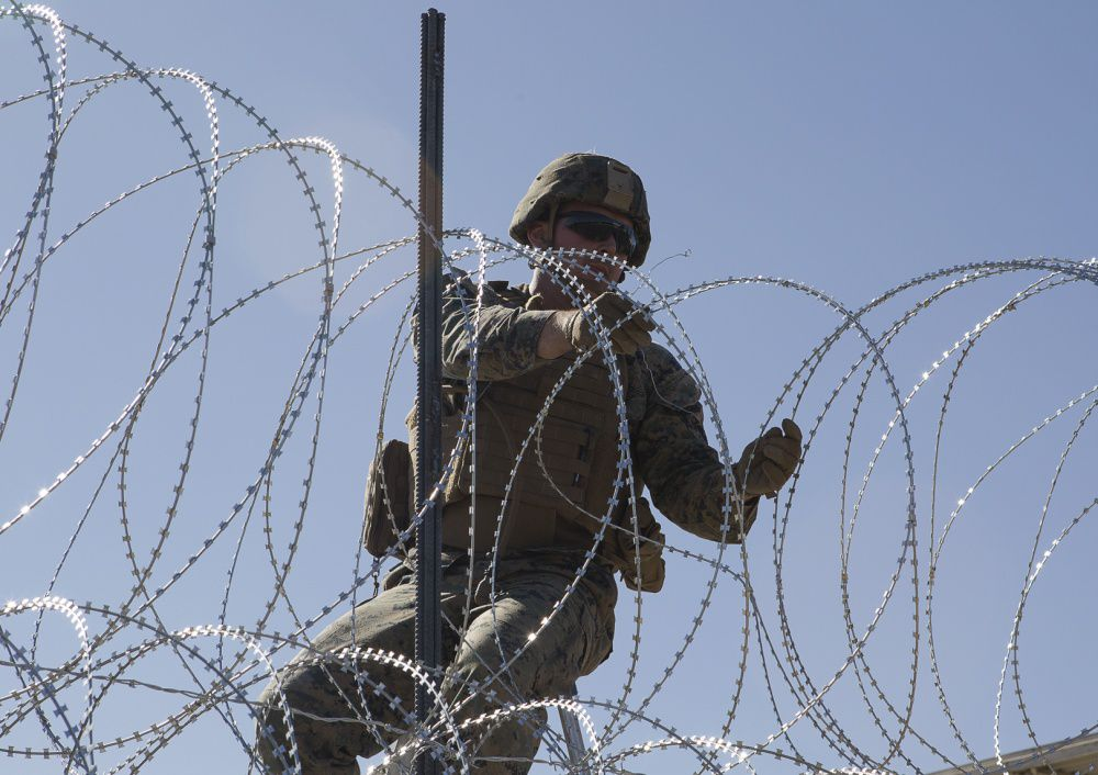 US Marines test a new barrier design at the California-Mexico border on November 12, 2018.