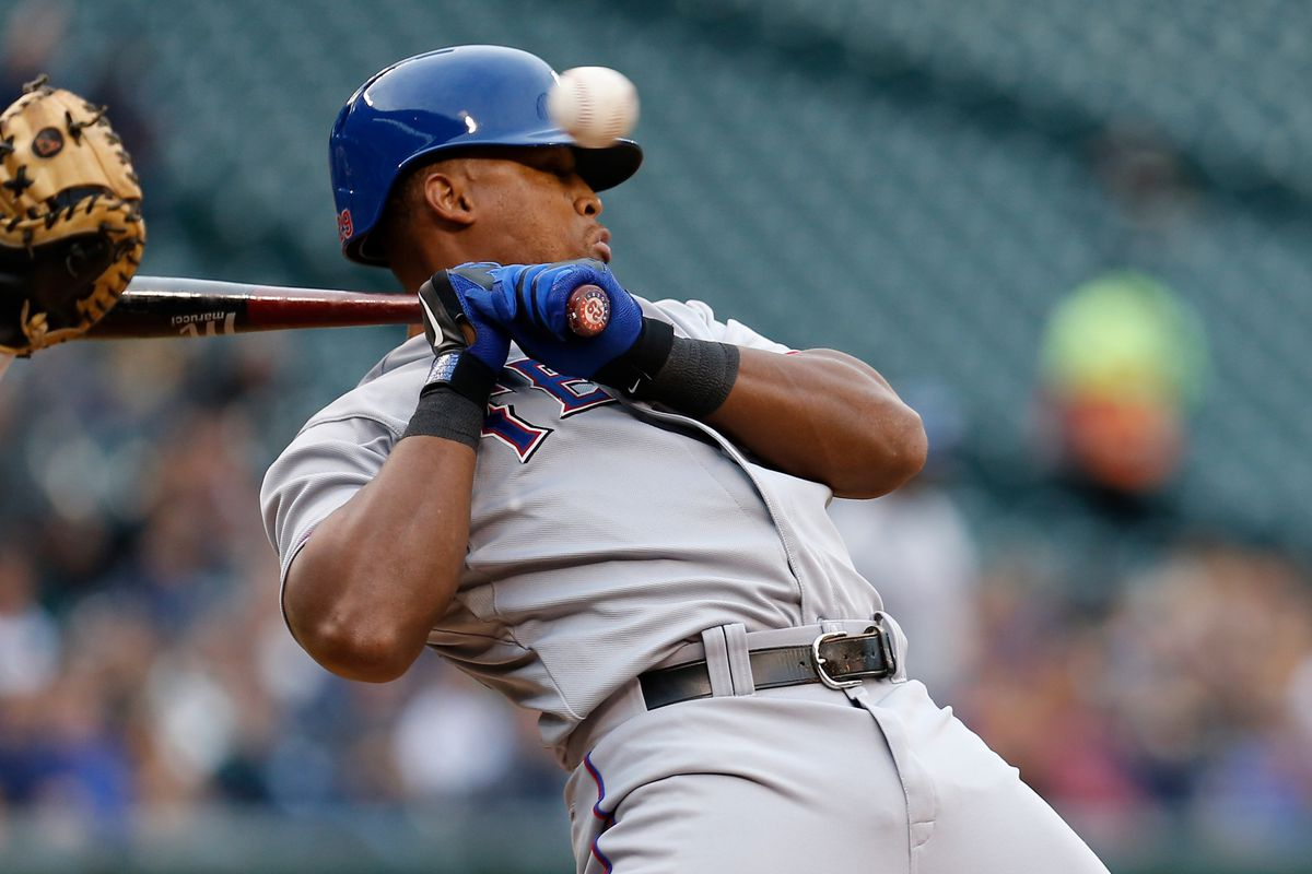 Adrian Beltre recoiling