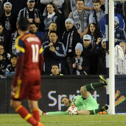 Real Salt Lake's Jeff Attinella makes a save during a game at Sporting Park in Kansas City, Kan. ,on Saturday, April 5, 2014.