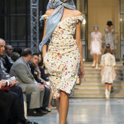 A model wears a design from the Vivienne Westwood Red Label Spring/Summer 2013 collection during London Fashion Week, Sunday, Sept. 16, 2012.