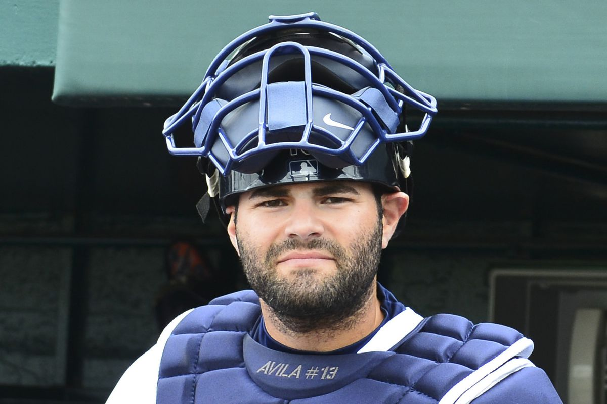 Alex Avila dons the tools of ignorance before the second game of the spring