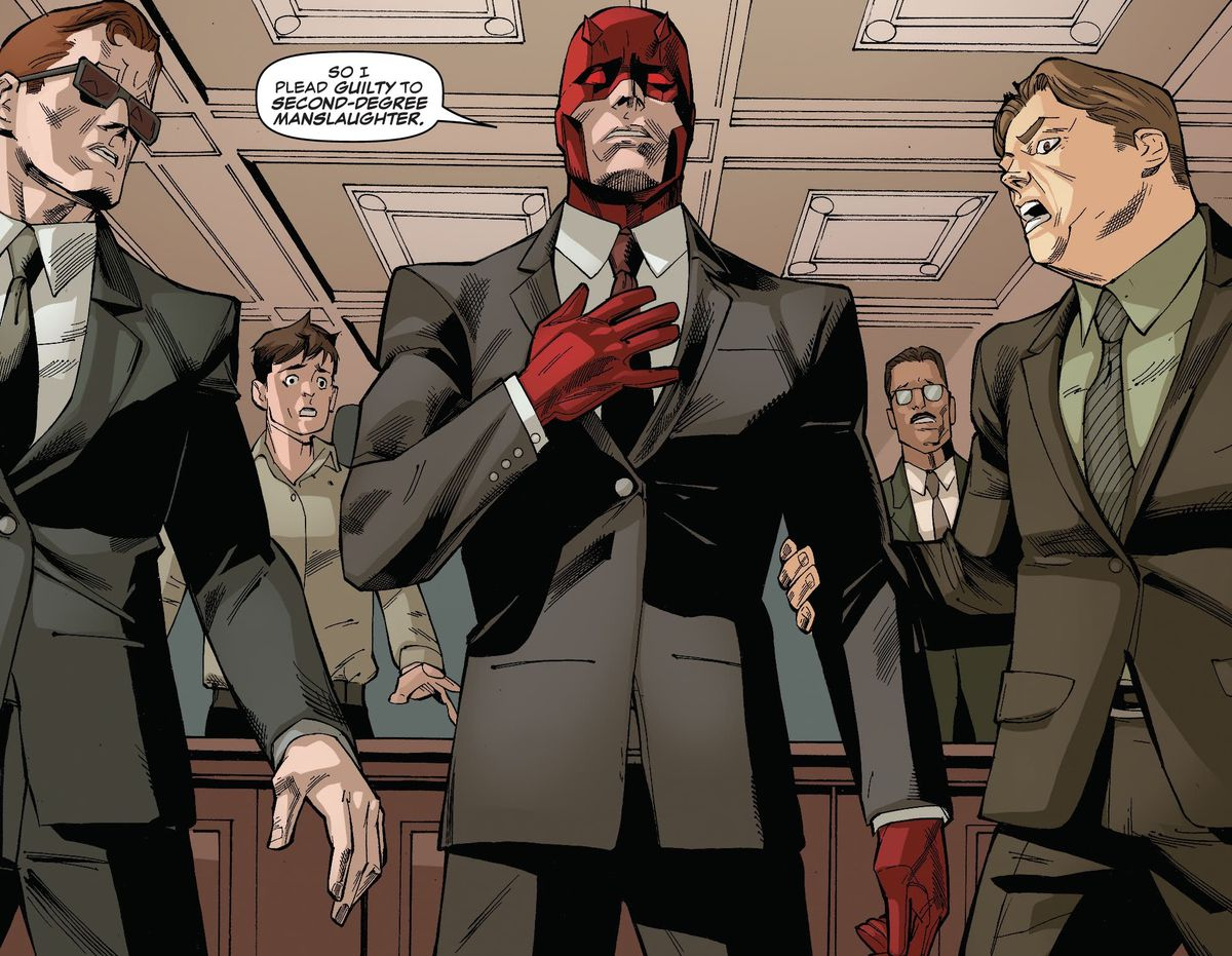 """""""So I plead guilty to second-degree manslaughter,"""" says Daredevil, to the shock of his attorneys, Foggy Nelson and Mike Murdock (Daredevil's twin brother, pretending to be Matt Murdock). He is wearing a business suit over his red suit, in Daredevil #24, Marvel Comics (2020)."""