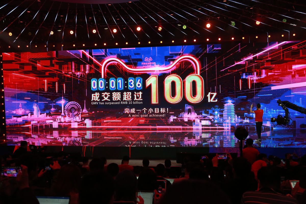 A screen that tracks Alibaba's sales volume during Singles Day.