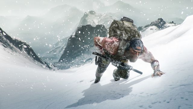 Soldier struggles up a snowy mountainside in Ghost Recon Breakpoint