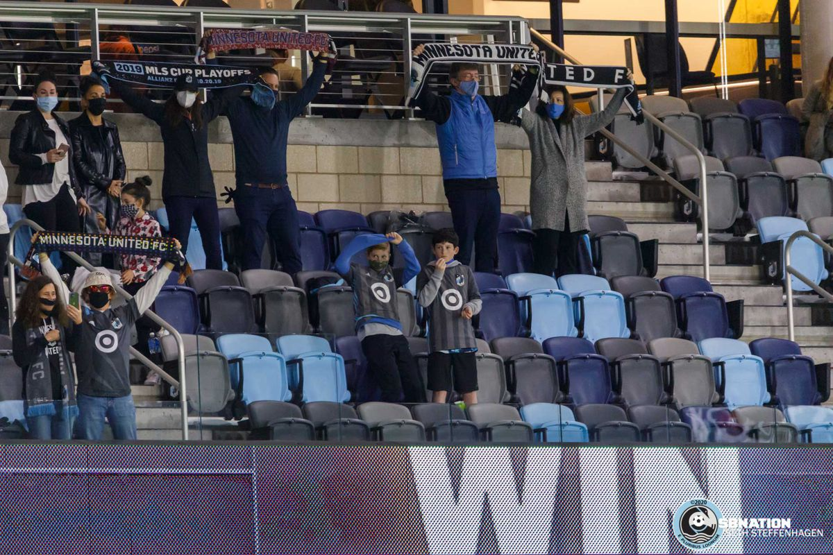November 8, 2020 - Saint Paul, Minnesota, United States - Fans celebrate a 3-0 Minnesota win over FC Dallas at Allianz Field.