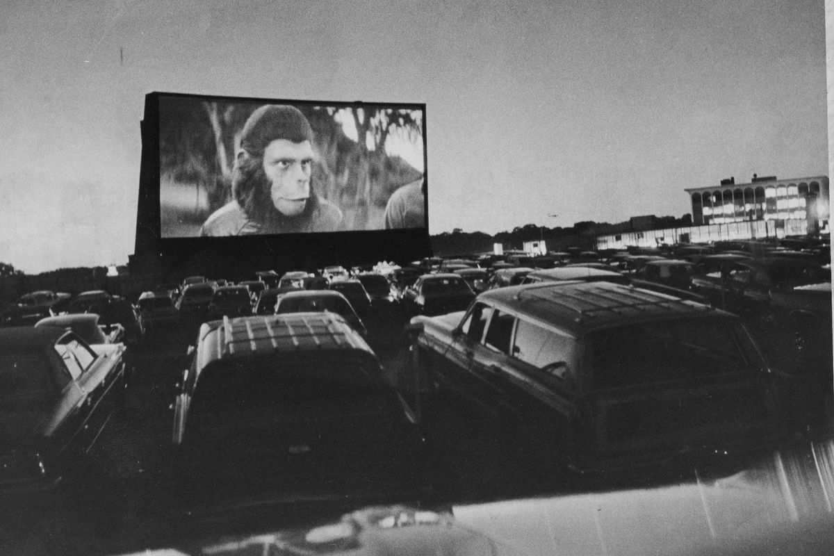 Planet of the Apes at drive-in movie, 1973
