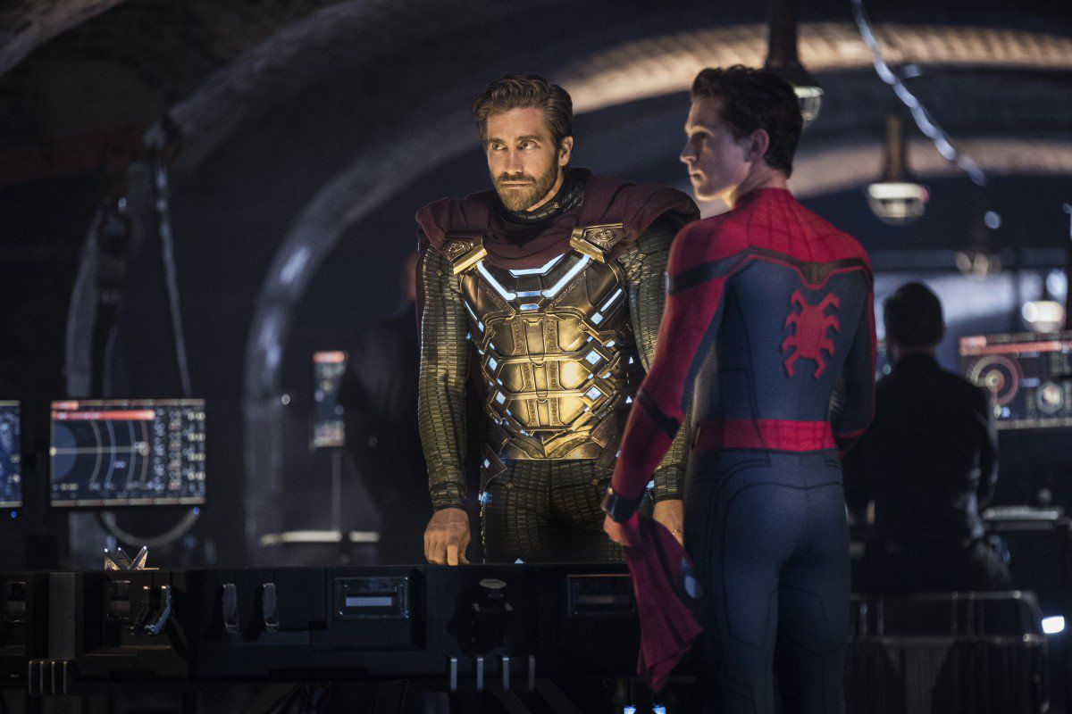 Jake Gyllenhaal and Tom Holland in Spider-Man: Far From Home.