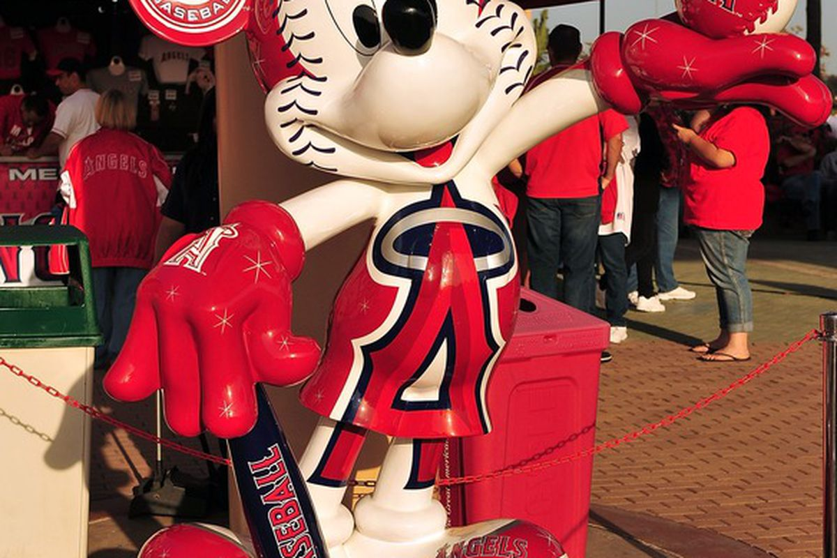 April 6, 2012; Anaheim, CA, USA; A statute of Mickey Mouse in Los Angeles Angels colors outside at Angel Stadium. Mandatory Credit: Gary A. Vasquez-US PRESSWIRE