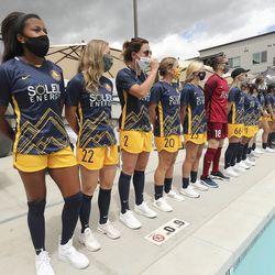 Team owner Dell Loy Hansen and Utah Royals FC players unveil new jerseys for the upcoming season in Herriman on Wednesday, June 17, 2020.