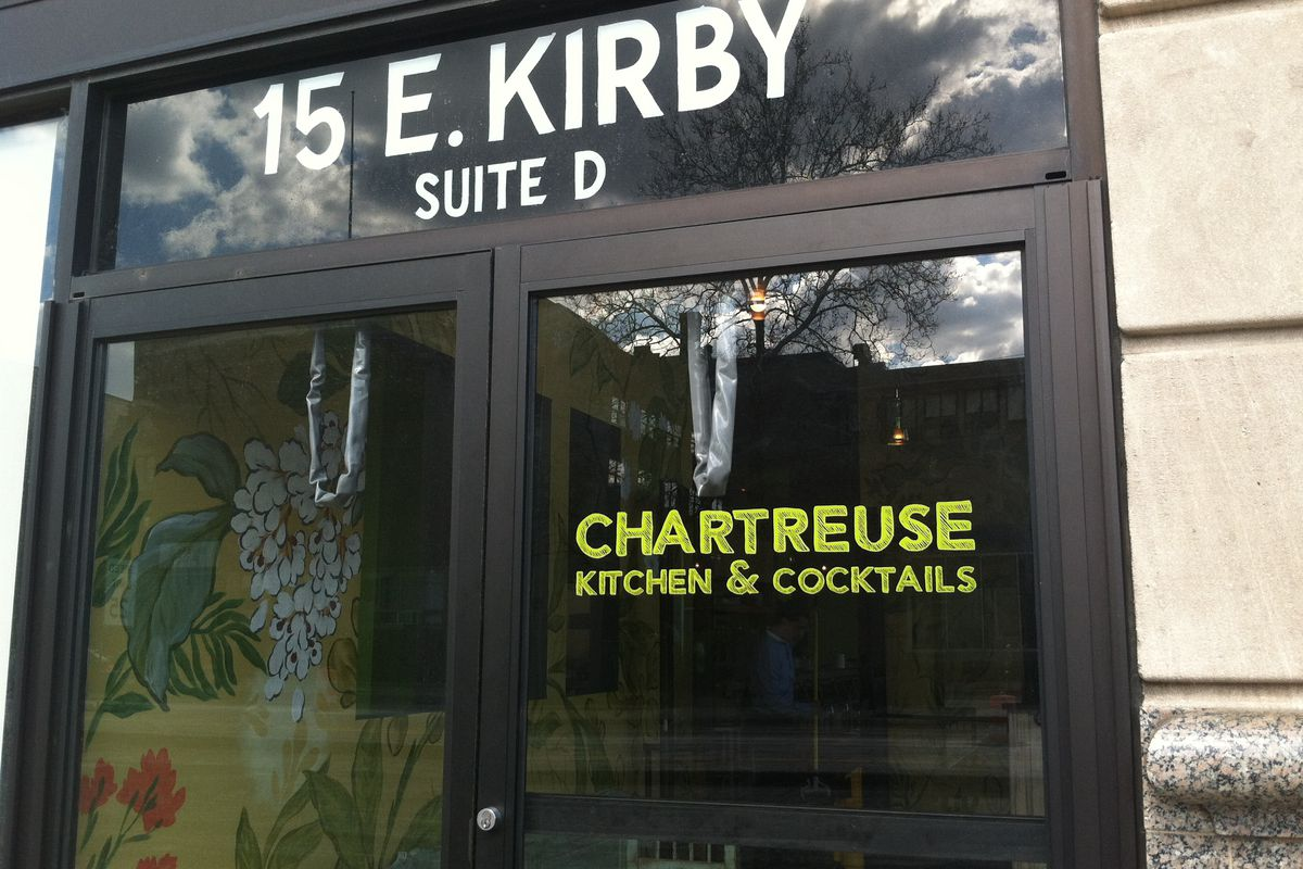 Chartreuse Kitchen & Cocktails added decals to the front entrance.