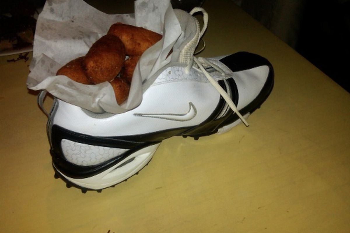 Chicken croquetas served in a Nike sneaker on offer at The Bazaar, Beverly Hills.
