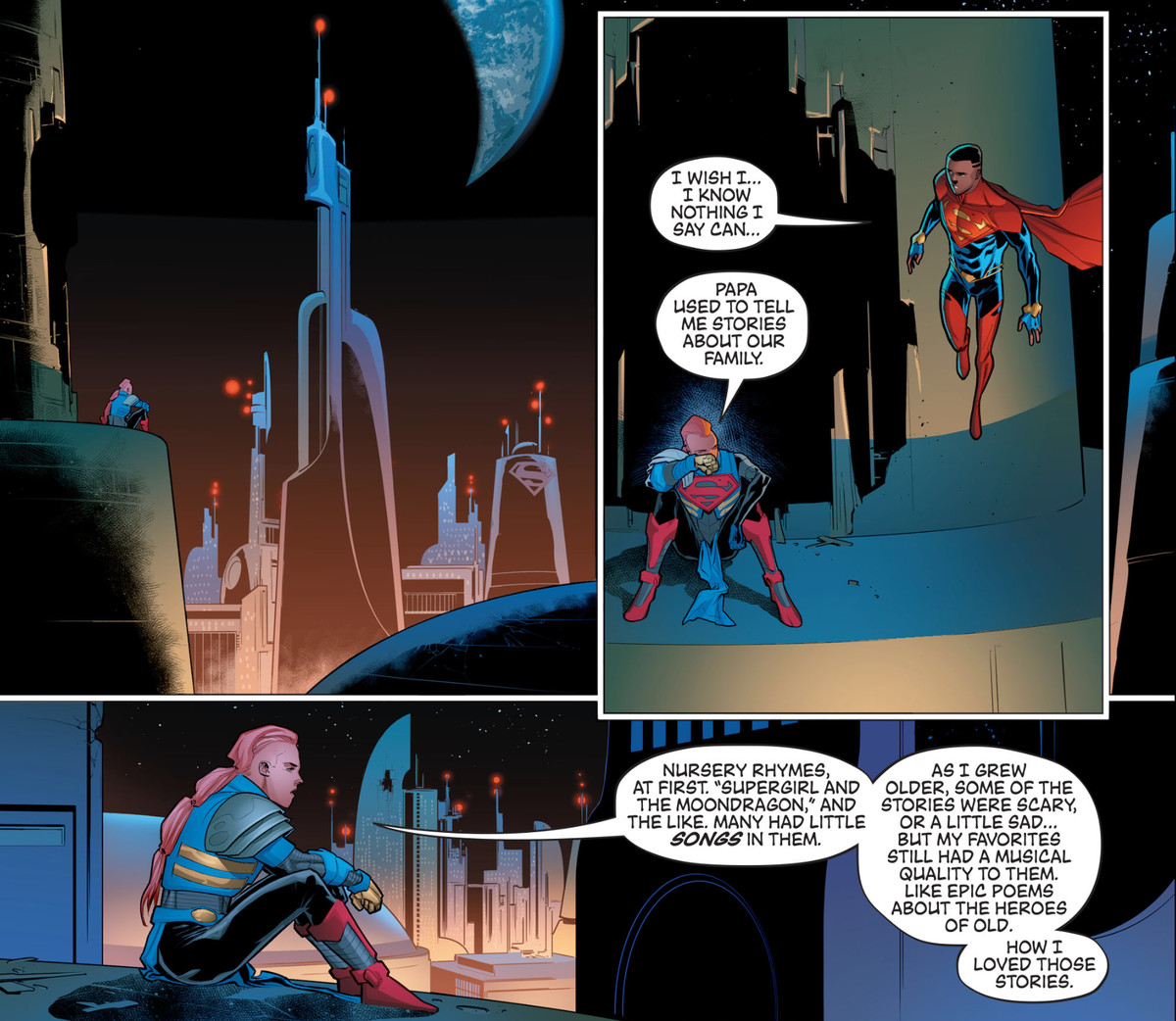 A member of the far future House of El, descendants of Superman, describes how her father used to tell her fairy tales about their family in Future State: Superman: House of El, DC Comics (2021).