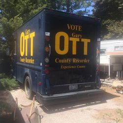 Salt Lake County Recorder Gary Ott's campaign vehicle is seen on the property of Karmen Sanone, Ott's office aide, and alleged girlfriend or wife, on Tuesday, May 9, 2017, in North Ogden. County Council leaders and county employees have become increasingly concerned about Ott's well-being.