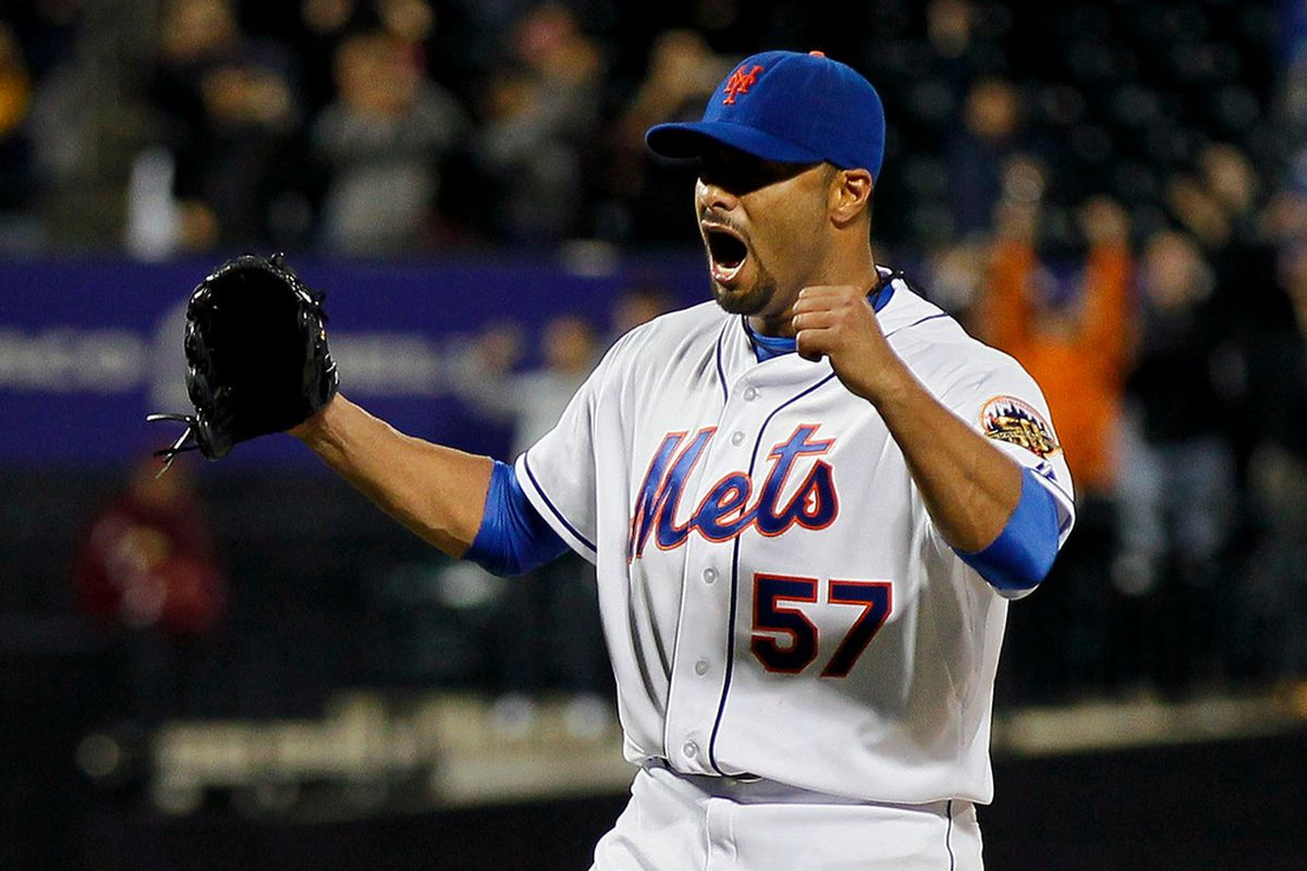 Johan Santana (57) of the New York Mets celebrates after pitching a no hitter against the St. Louis Cardinals at CitiField on June 1, 2012.  (Photo by Mike Stobe/Getty Images)