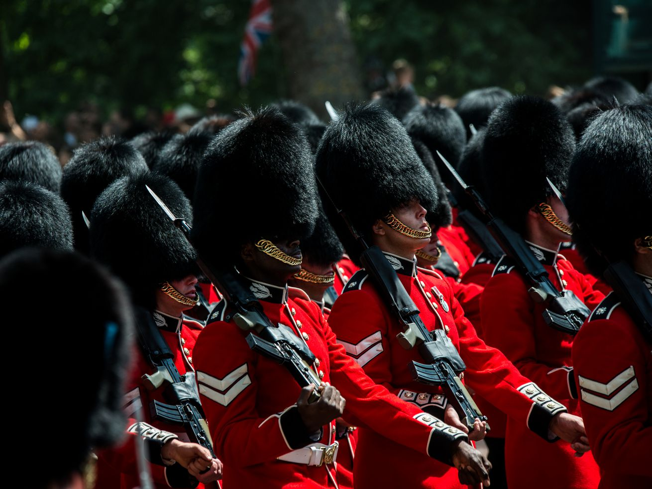 UK Royal Guards seen marching on the way to Buckingham Palace.