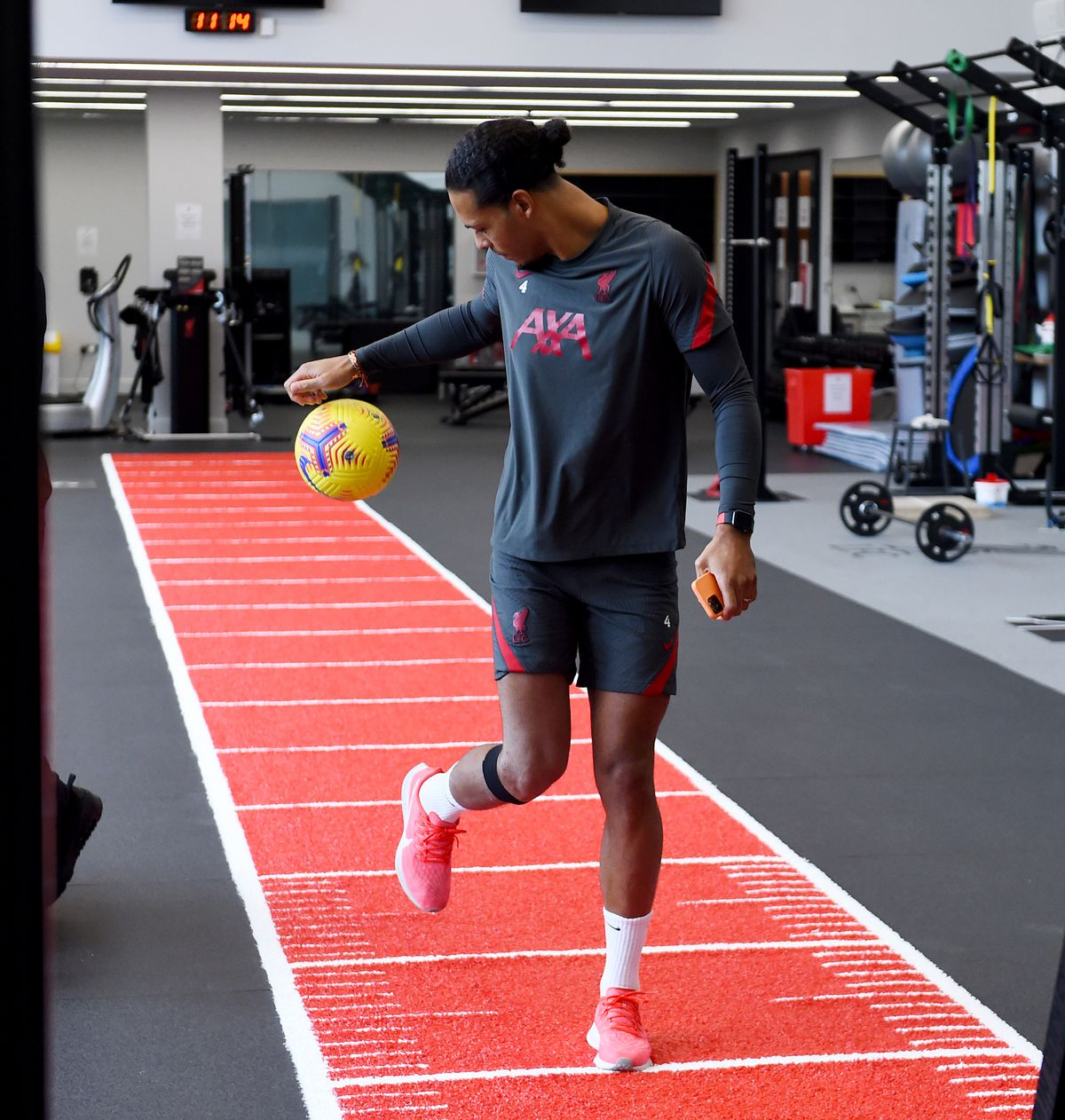 Virgil has a ball out! Playing about with a football!
