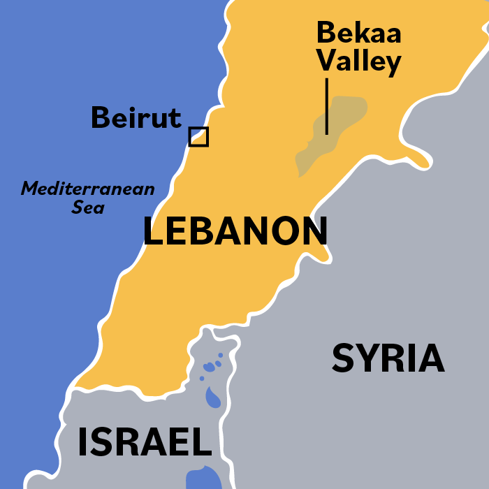 A map indicates the Bekaa Valley's place in northern Lebanon, directly east of Beirut