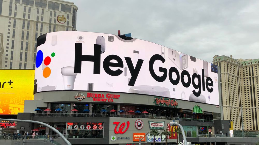 Hey Google billboard at CES