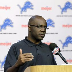 Detroit Lions general manager Martin Mayhew addresses the media during a pre-draft news conference at the Lions training facility in Allen Park, Mich., Thursday, April 19, 2012.