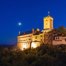 Wartburg Castle, shown here at night, gave Martin Luther the solitude he needed to be able to translate the New Testament into German in approximately 10 weeks.