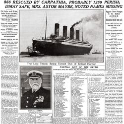 The New York Times' April 16, 1912, issue's front page covered the Titanic disaster. The story sparked a media frenzy similar to the 9/11 attacks and revolutionized journalism.