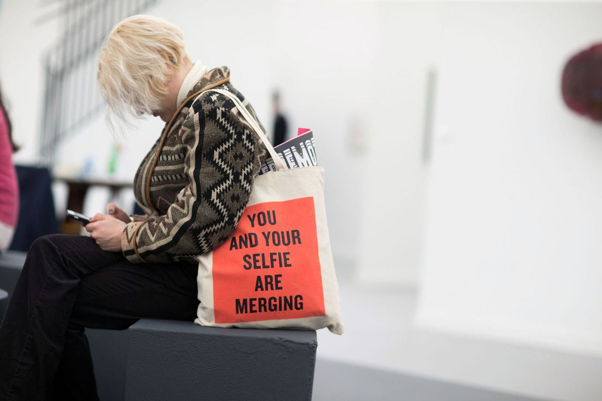 A tote bag seen at Frieze New York