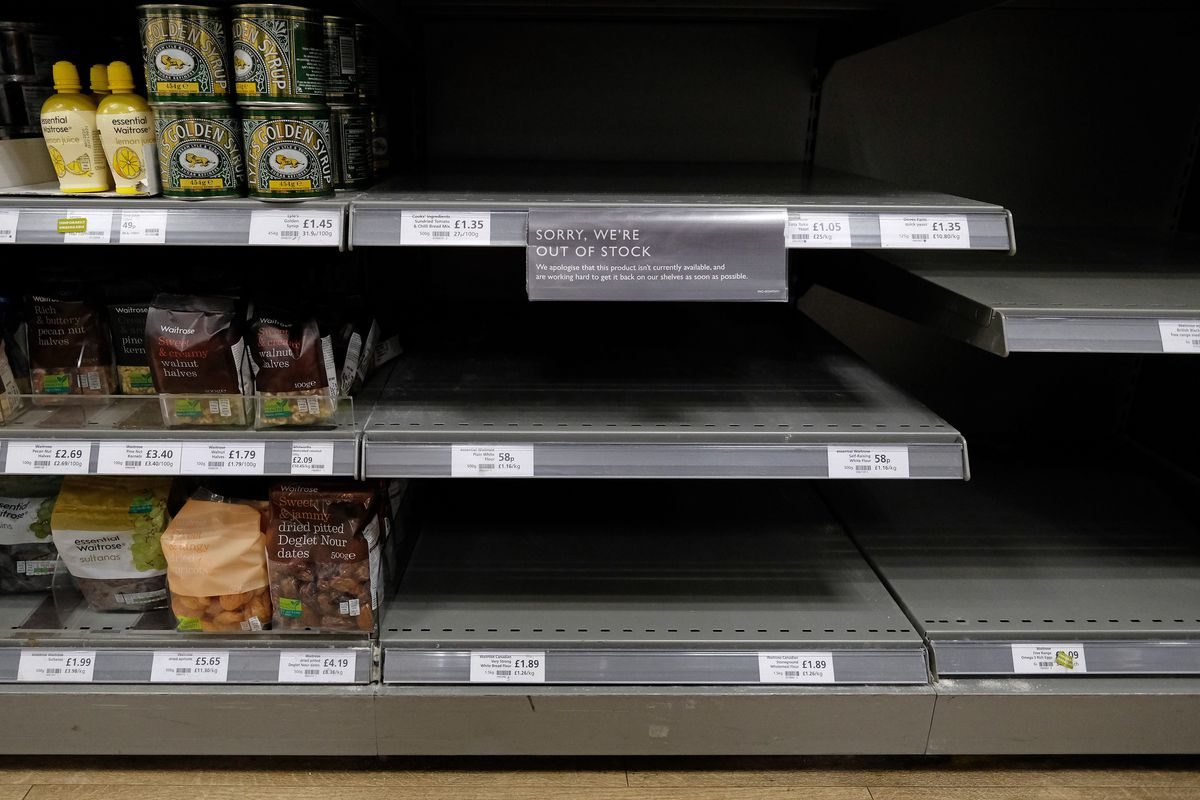 Empty flour shelves at a supermarket during COVID-19