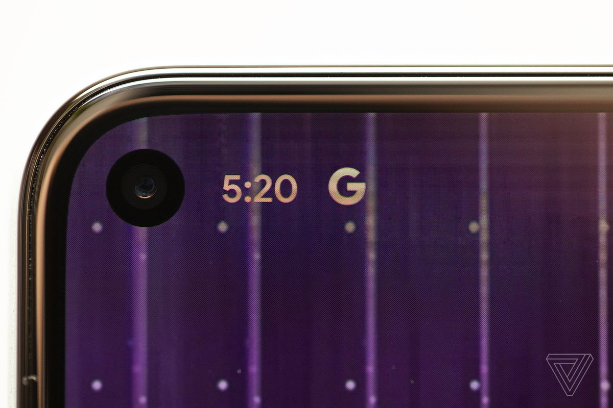 The hole punch selfie camera and thin bezels on the Pixel 5