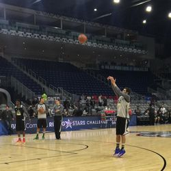 Jazz point guard Raul Neto puts up a shot during practice as part of the NBA All-Star Weekend's Rising Stars Challenge on Friday, Feb. 12, 2016, at Air Canada Centre in Toronto.