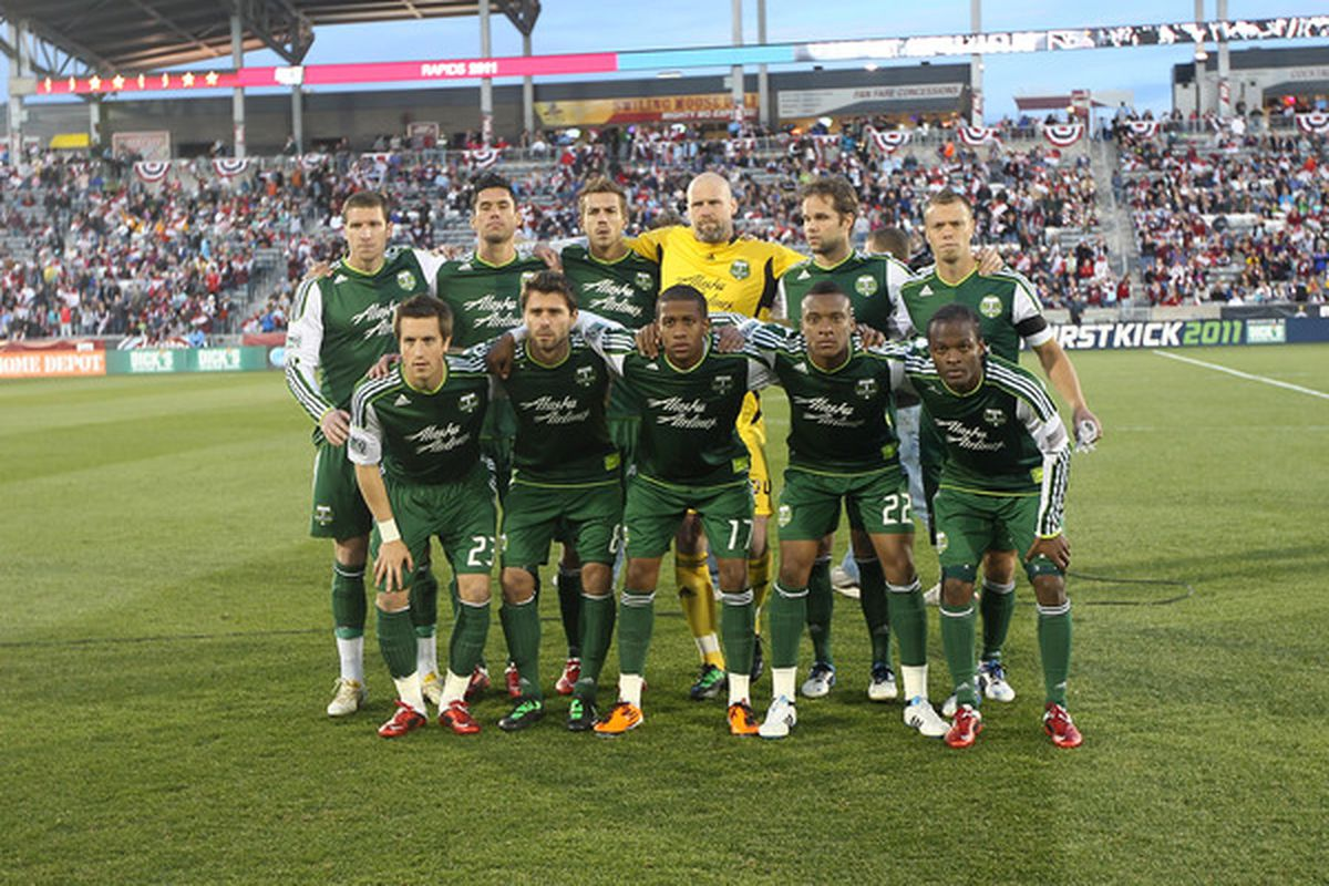 COMMERCE CITY, CO - MARCH 19:   The Portland Timbers pose for a photo prior to the game against the Colorado Rapids at Dicks Sporting Goods Park on March 19, 2011 in Commerce City, Colorado.  (Photo by Michael Martin/Getty Images)