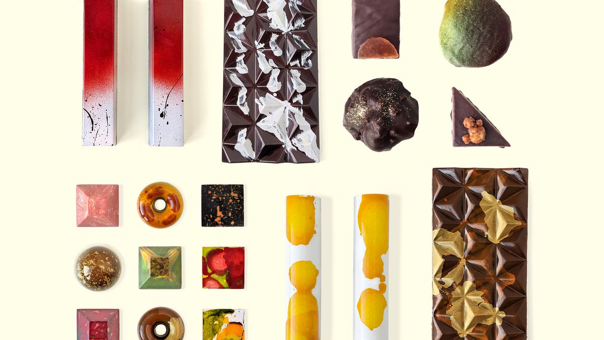 An array of artistic chocolates from Topopgato including bars, squares, doughnut-shaped chocolates and more.