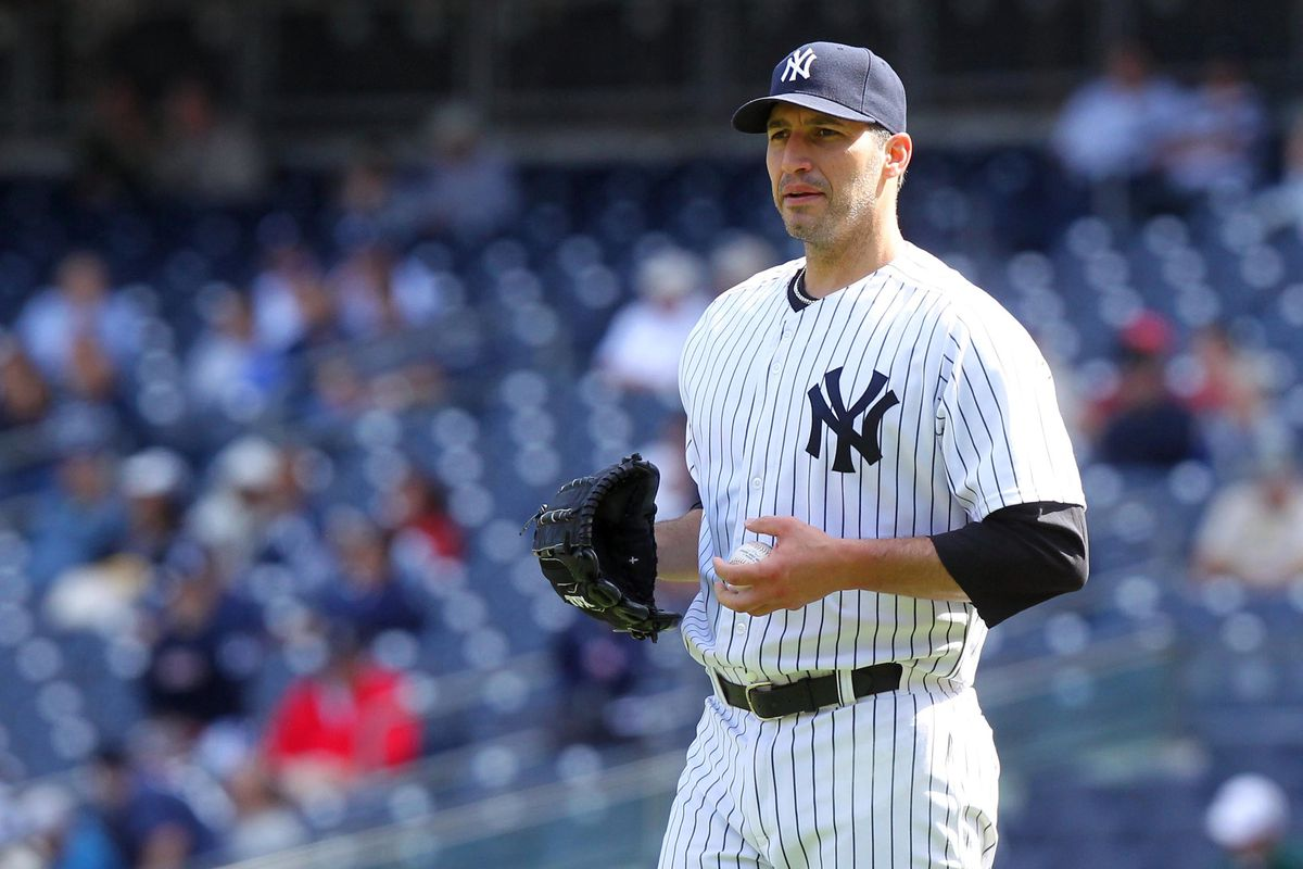 September 19, 2012; Bronx, NY, USA; New York Yankees pitcher Andy Pettitte (46) during the fifth inning of a game against the Toronto Blue Jays at Yankee Stadium. Brad Penner-US PRESSWIRE