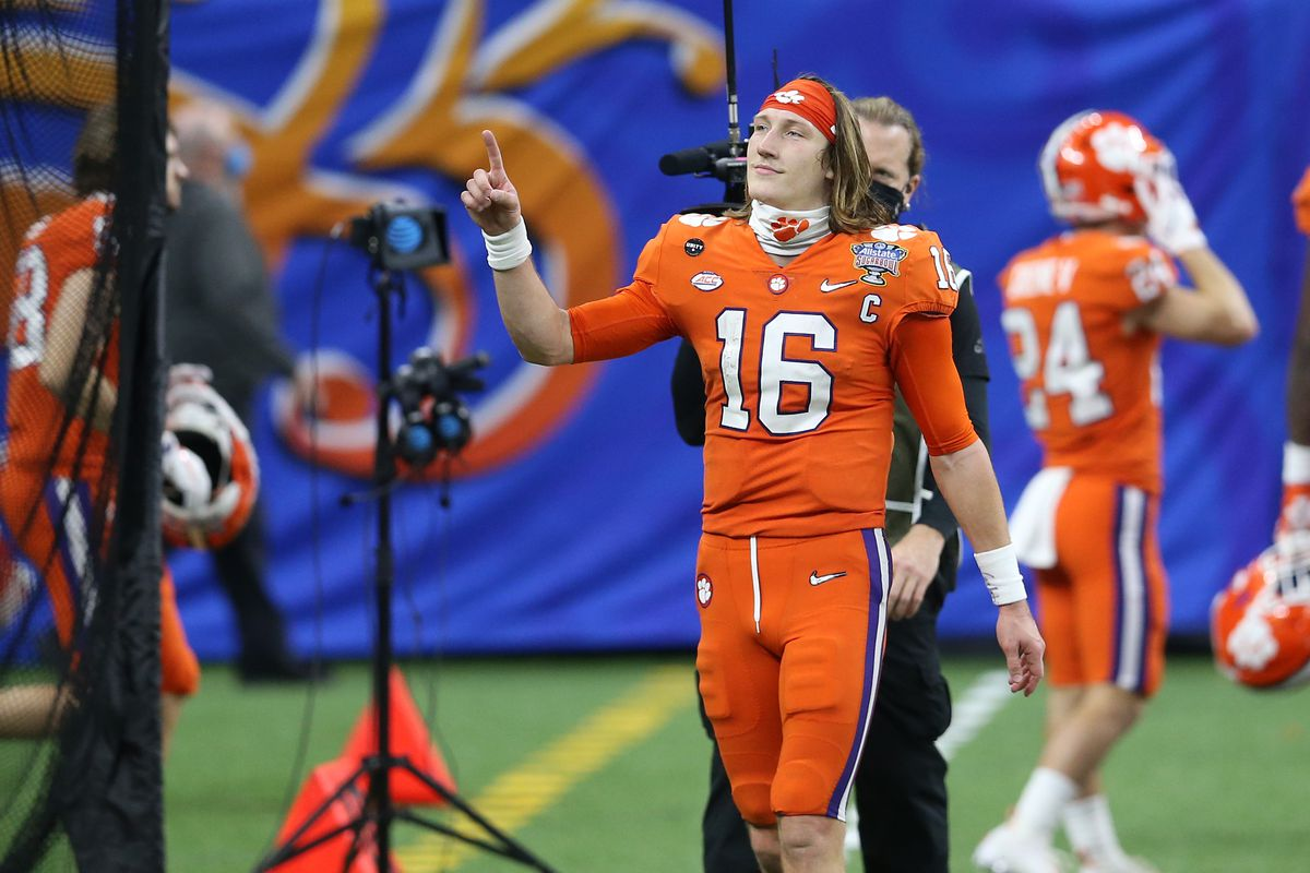 Clemson Tigers quarterback Trevor Lawrence reacts after the game against the Ohio State Buckeyes at Mercedes-Benz Superdome.