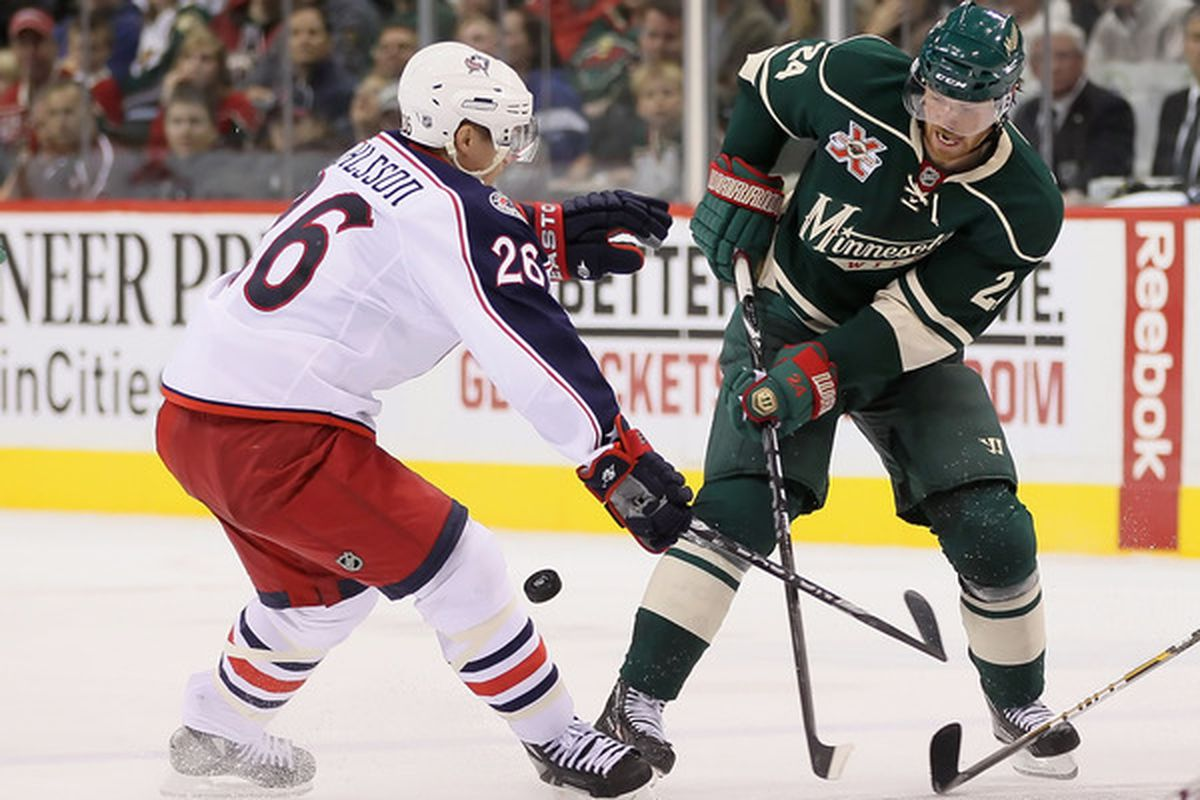 Turns out I can't show you the coveted Yelnats Cup right now, so here's a photo of the fake game between the Wild and Blue Jackets (Photo by Jeff Gross/Getty Images)