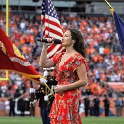 Meredith Garofalo sings the National Anthem before preseason game two.
