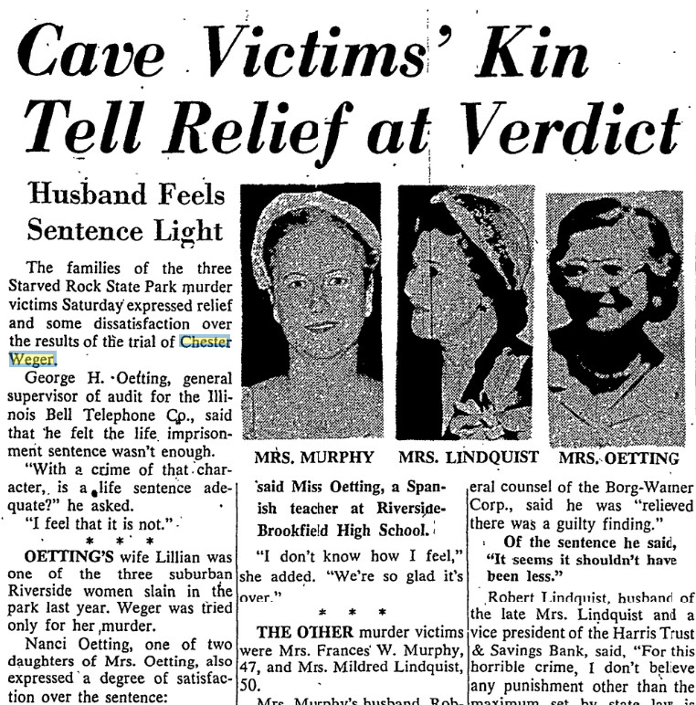The families of the three Starved Rock victims were relieved that Chester Weger was convicted, but Lillian Oetting's husband wished he received the death penalty, not life in prison. | Chicago Daily News files.