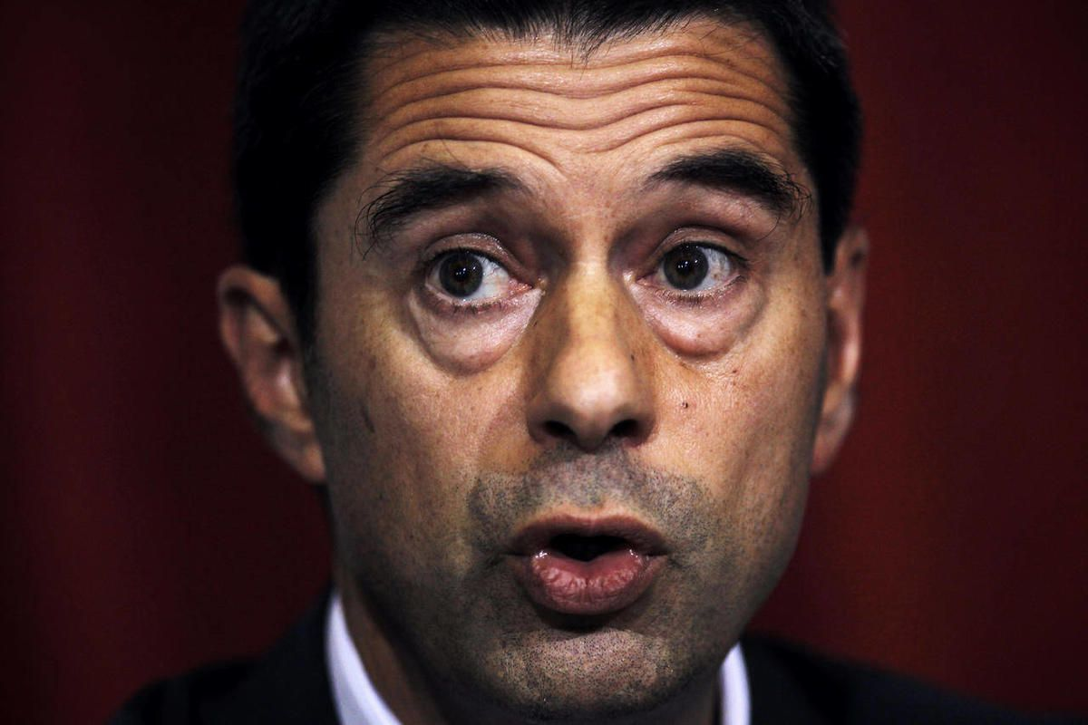 Portugal's Finance Minister Vitor Gaspar talks to journalists during a news conference at the Portuguese Finance Ministry, in Lisbon, Tuesday, Sept. 11, 2012. Gaspar says the foreign lenders who granted his country a euro 78 billion ($100 billion) bailout