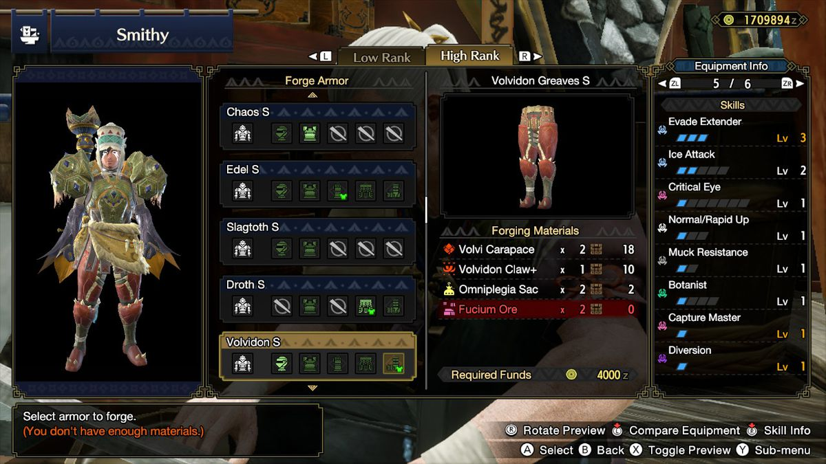 A mixed armor set in Monster Hunter Rise